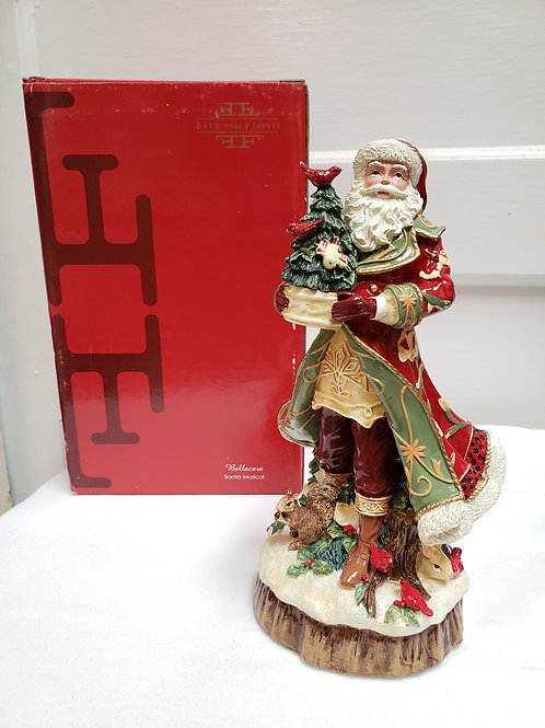 Fitz and Floyd Bellacara Santa Figurine Music Box