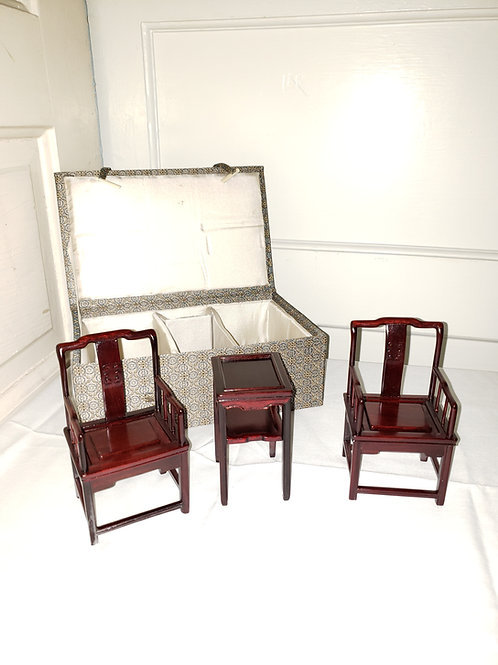 Miniature boxed Mahogany chair set with table