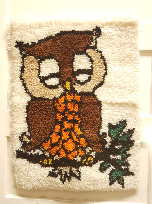 Mid Century Latchhook Owl wall hanging