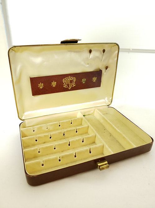 Leather covered Jewel Case by Ely 1950s, 1960s