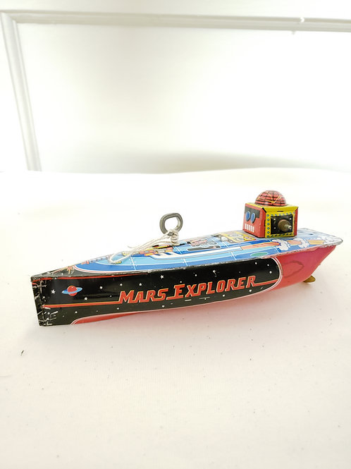 Schylling Mars Explorer Tin Toy Wind-up Speedboat Robot Outer Space UFO