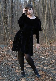 Classic Velvet Dress with Cape