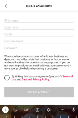 Gymcatch App Registration