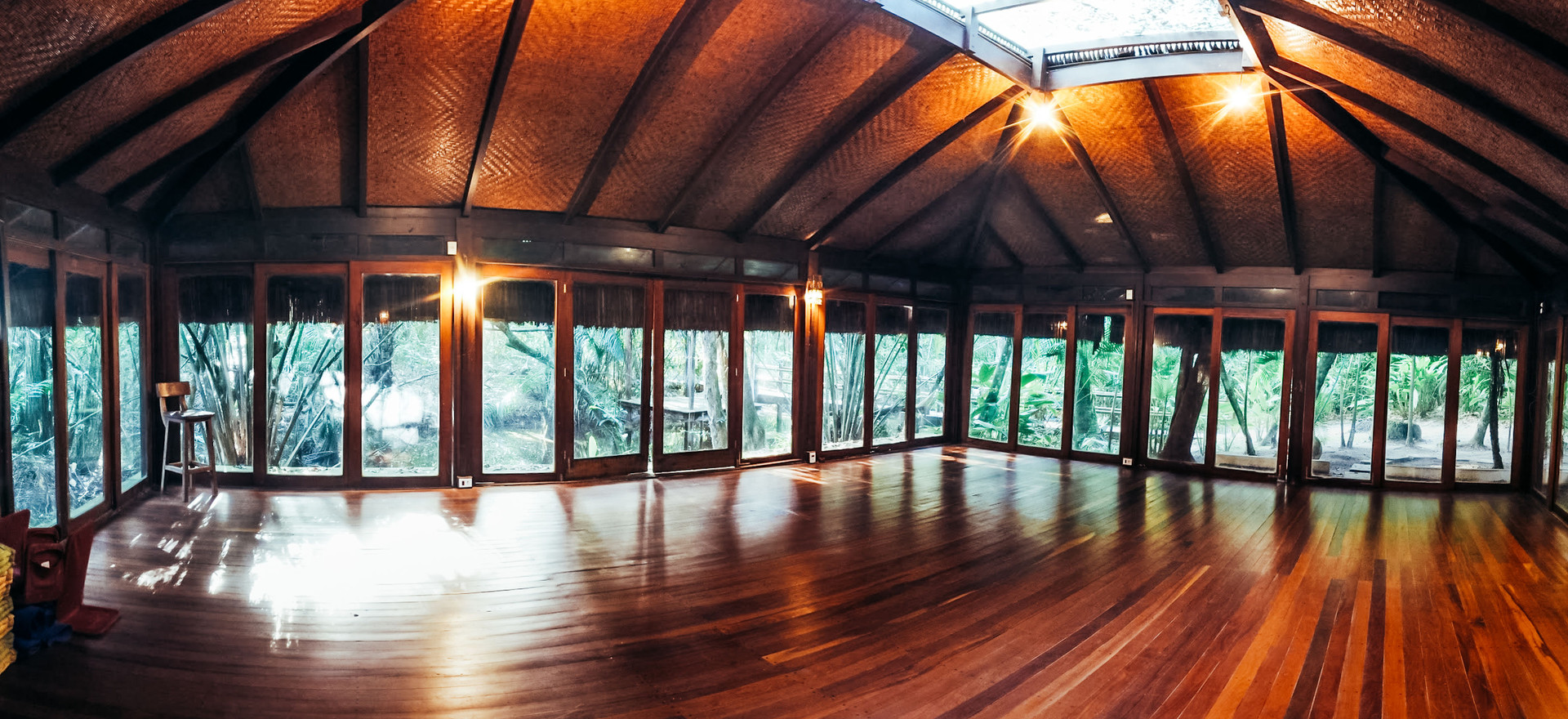 An activity room with a wooden floor surrounded by a jungle