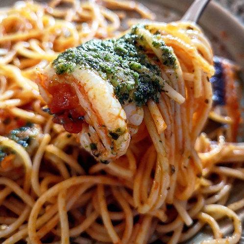 Tomato Spaghetti with Superseed pesto