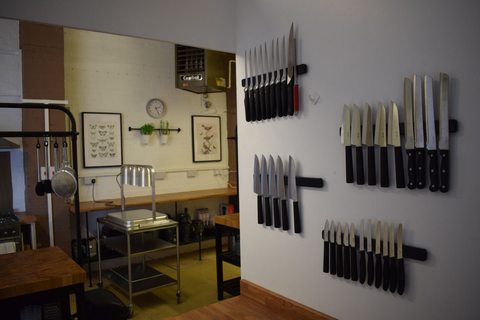 Knife rack and shot of cooking area