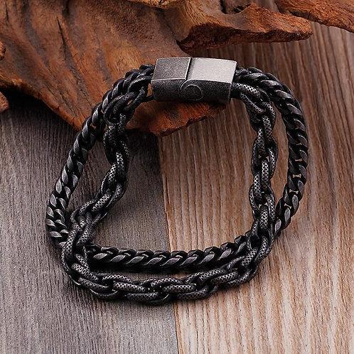 Heavy Black Link Chain Stainless Steel Men's Bracelets (Tompusi Mille Fleurs)