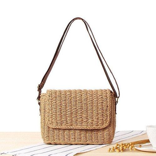 Hand Woven Bohemian Straw Bag Flap Cover Shoulder Messenger Bag