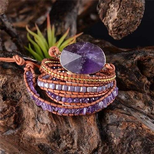 Handmade Leather Wrap Beaded Bracelet Boho Chic Jewelry