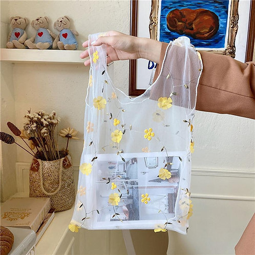 Flower Embroidery Hand Bag Organza Casual Tote Mesh Eco Shopping Bag