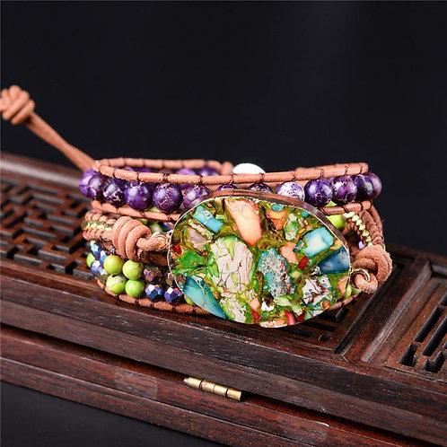 Handmade Boho Chic Jewelry Wrap Leather Beaded Bracelet