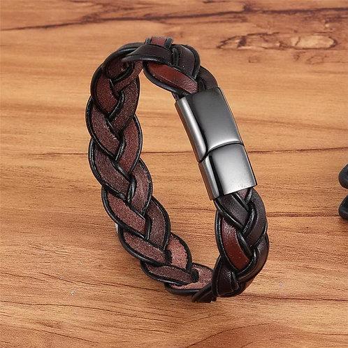 High Quality New Black Leather Unique Knit Bracelet for Men