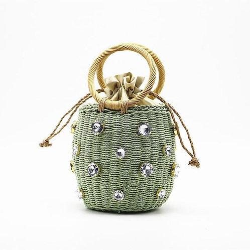 Handmade Rhinestone Crystal Embellished Straw Bag Straw Bucket Bags