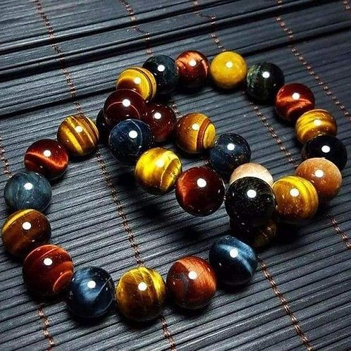 Handmade Natural Stone Tiger Eye Multi Color 14mm Beads Bracelet