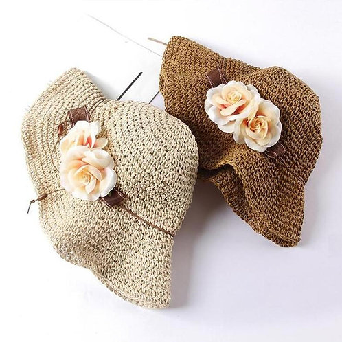 Summer Flowers Foldable Handmade Crochet Straw Sun Hat