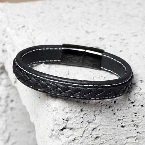 Cross Braided Design Leather Bracelet Stainless Steel Magnetic Cuff Bangle