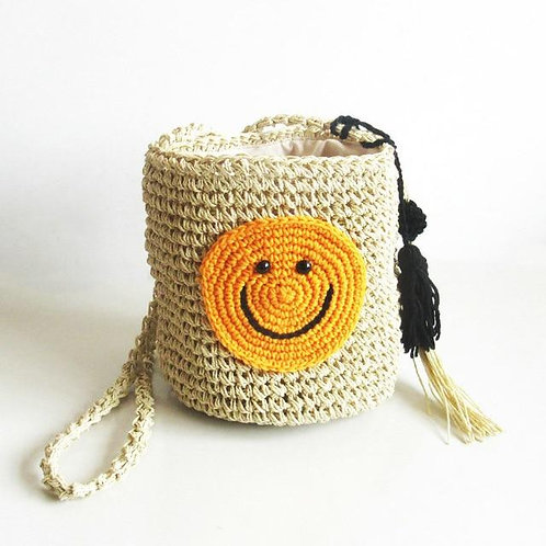 Smiley Face Round Straw Shoulder Bag Bohemian Handmade Weave Bucket Tote