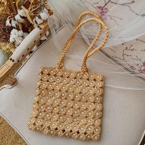 Handmade Design Pearl Straw Woven Shoulder Bags