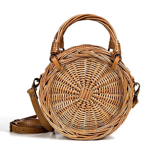 Round Wicker Women's Straw Bag Weaving Tote