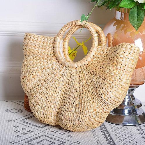 Handmade Bohemian Half-Moon Woven Straw Tote Bag with Handle