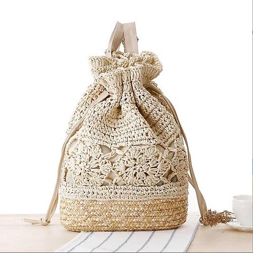 Handmade Knitted Flower Crochet Straw Backpack