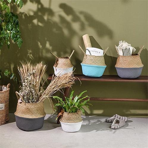 Handmade Bamboo Storage Baskets Straw Wicker Flower Pot