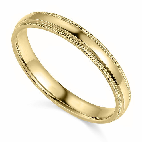 14k Yellow Gold 3-mm Comfort-fit Milgrain and polished Wedding Band