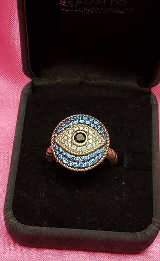 "Judith Ripka ""Lucky"" Evil Eye Sterling Ring"