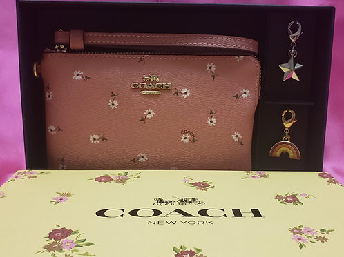 New Coach Pink Floral Wristlet W/3 Charms F27472