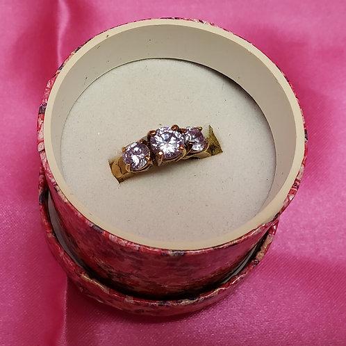 3 Amethyst Gem Gold over Sterling Ring Size 8