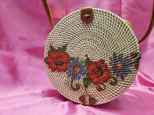 Vintage Wicker Floral Crossbody