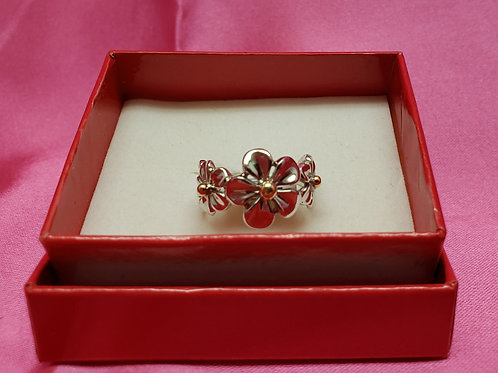 3 Flower 925 with gold accent Ring