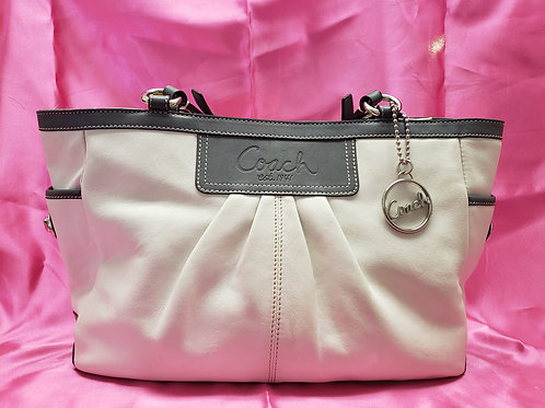 Coach Putty and Grey Leather Purse F13759