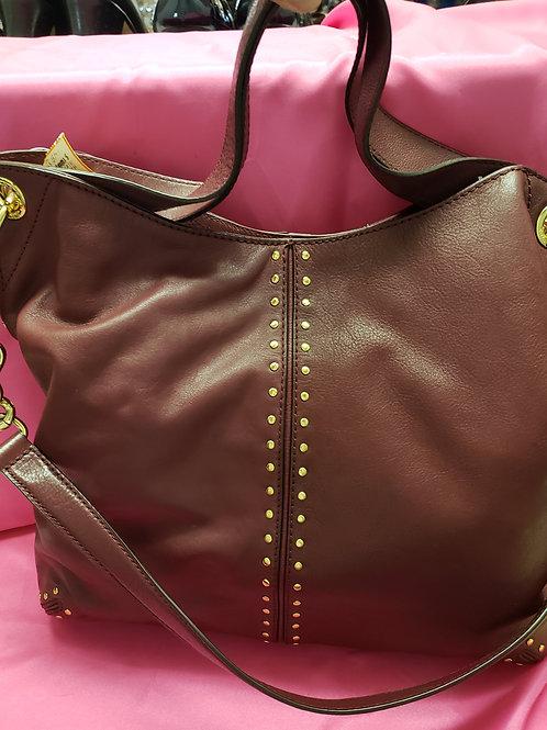 Michael Kors BurgundyGold Studded Leather Purse