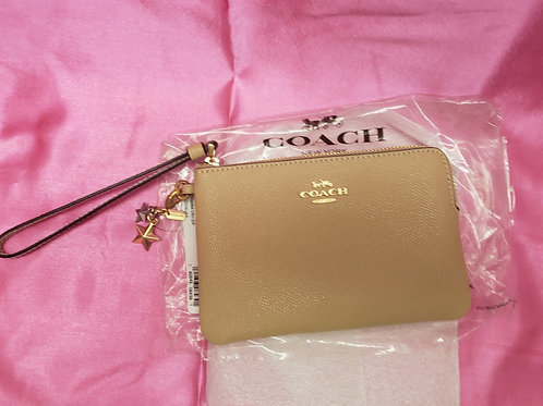 New Coach Gold Wristlet F24803
