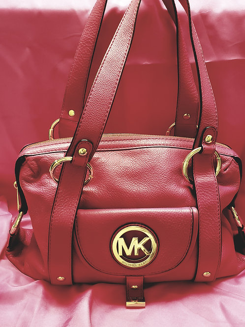 Michael Kors Raspberry Pebble Leather Satchel