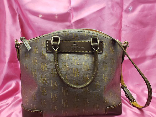 Dooney and Bourke Taupe and Yellow Signature Purse