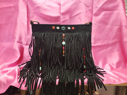 Black Suede Hippie Fringe Boho Bag