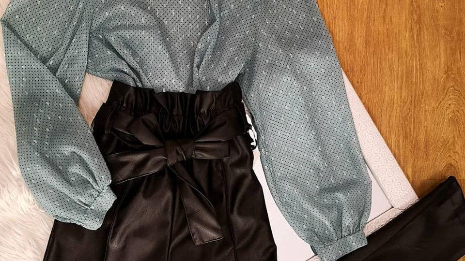 pantalone eco pelle con fiocco