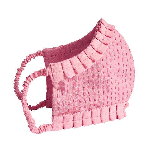 CLO DE VILA  X  WOMEN WEAVE Face Mask - Pink, Frilled Edge