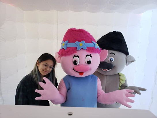 photo booth with theme character