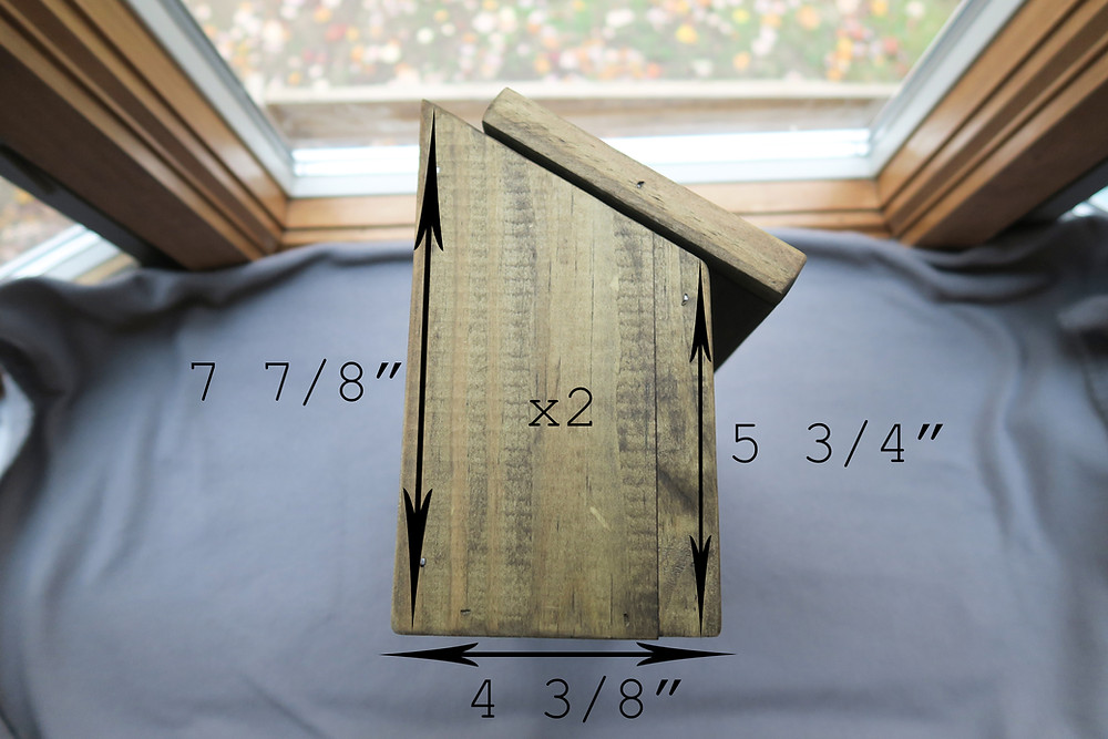 Measurements for the two sides of the mailbox