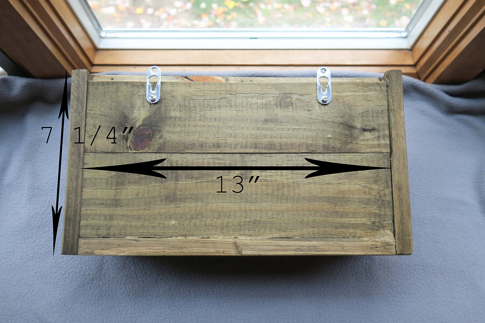 Measurements for the back of the wooden mailbox