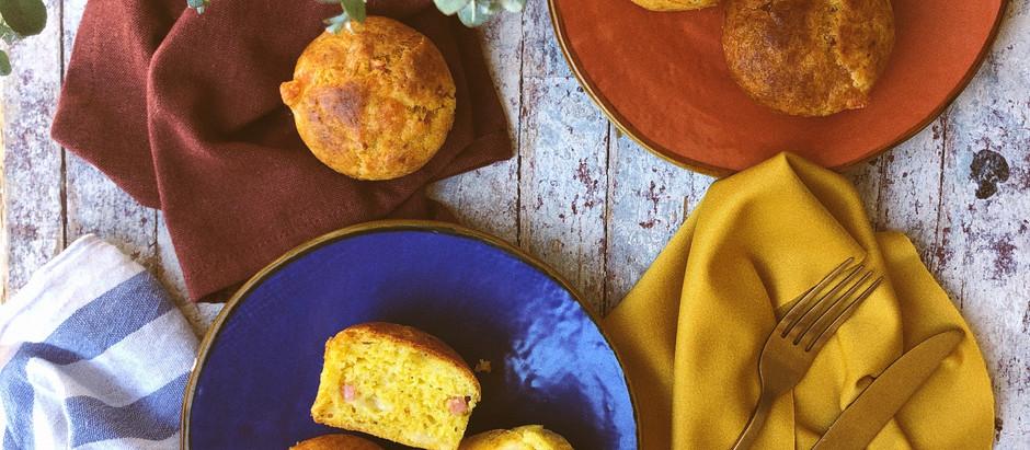 Muffins con prosciutto cotto e mozzarella