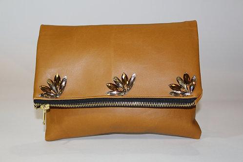 Camel Faux Leather Clutch