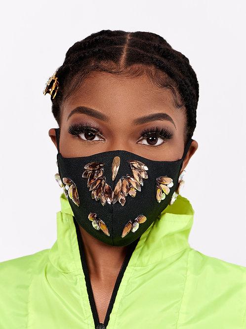 Brown/Black Rhinestone Mask
