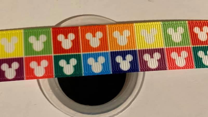 Rainbow Mickeyhead 22mm grosgrain ribbon by meter