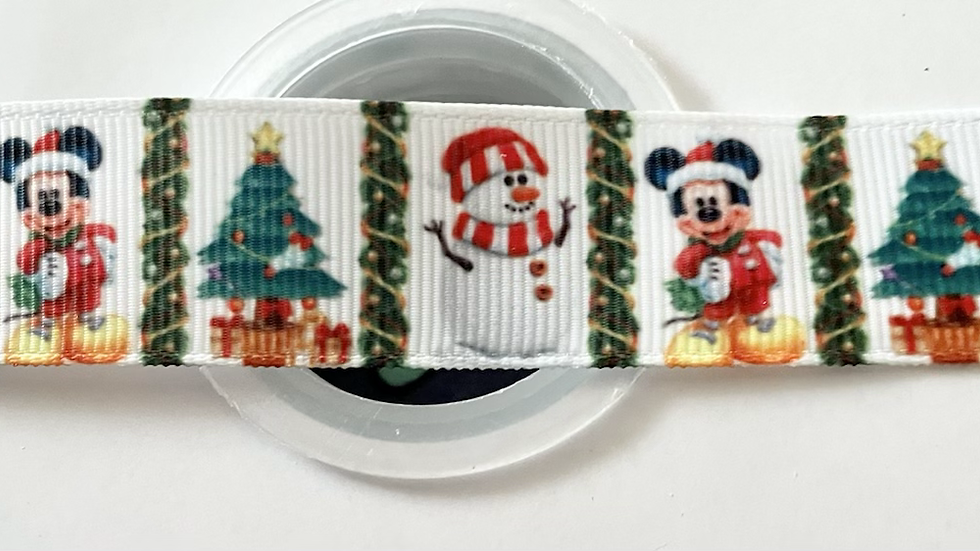 Christmas themed mickey 22mm grosgrain ribbon per meter