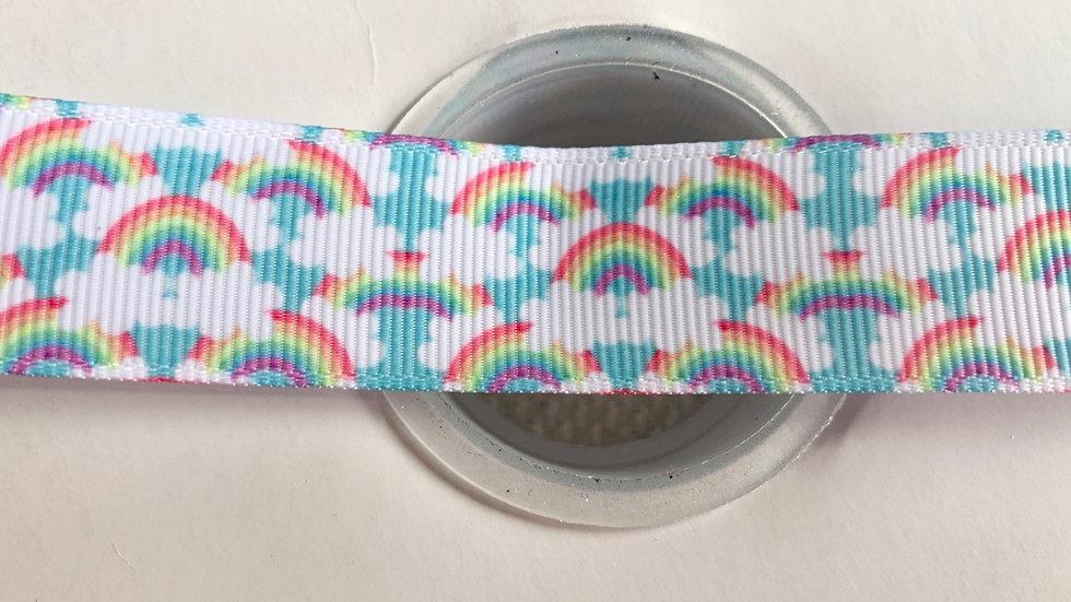 Rainbows 22mm grosgrain ribbon per meter