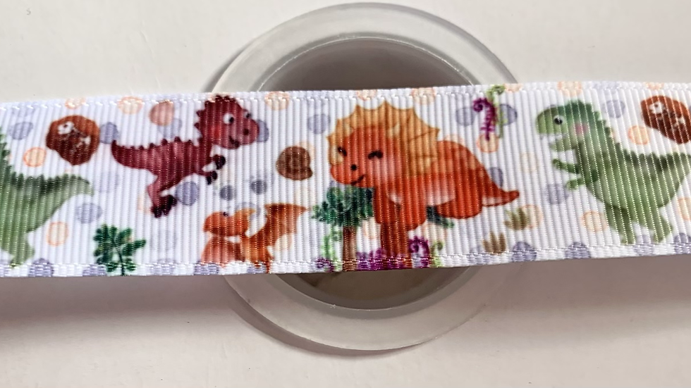 Cute dinosaurs 25mm grosgrain ribbon per meter